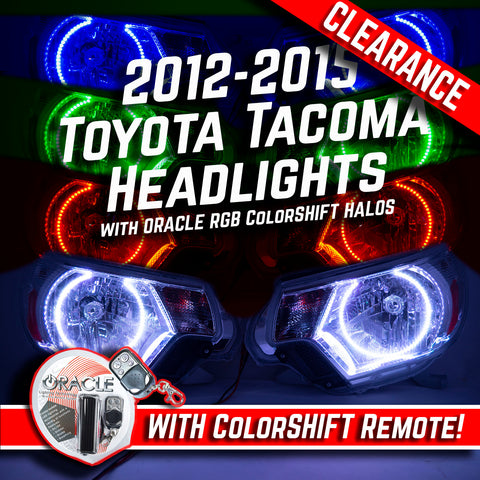 2012-2015 Toyota Tacoma Headlights ORACLE RGB ColorSHIFT LED Halos + ORACLE RGB Remote