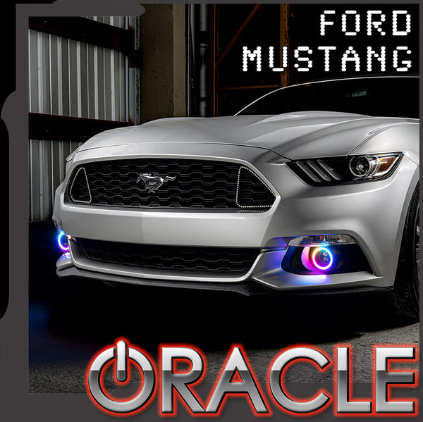 2015-2017 Ford Mustang Dynamic ColorSHIFT RGB+A Projector Fog Halo Kit- Surface Mount