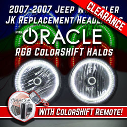 2007-17 Jeep WranglerHeadlights w/ ORACLE ColorSHIFT RGB Halo Kit + Remote