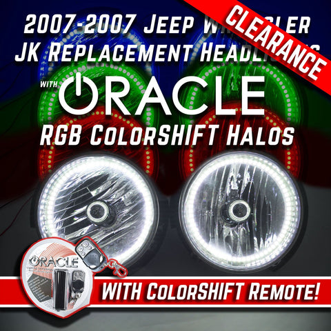 2007-16 Jeep Wrangler Headlights w/ ORACLE ColorSHIFT RGB Halo Kit + Remote