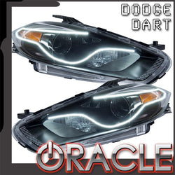 2013-2016 Dodge Dart Pre-Assembled Headlights-Black(HID Style)-Perimeter Halo