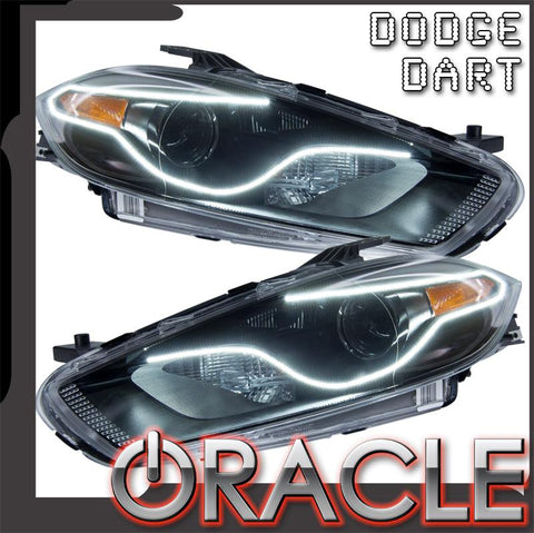 2013-2016 Dodge Dart Pre-Assembled Headlights-Black(Halogen Style)-Perimeter Halo