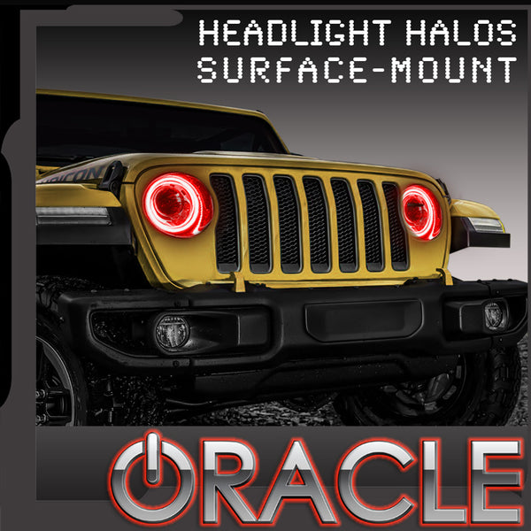 2018-2021 Jeep Wrangler JL ORACLE LED Headlight Surface Mount Halo Kit