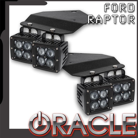 ORACLE 2010-2014 Ford Raptor Fog Light Replacement Brackets + Lights Combo