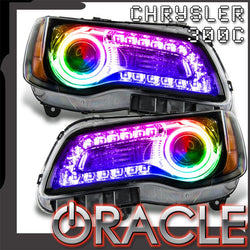 2011-2014 Chrysler 300C NON HID Pre-Assembled Headlights - Black Housing - ColorSHIFT DRL