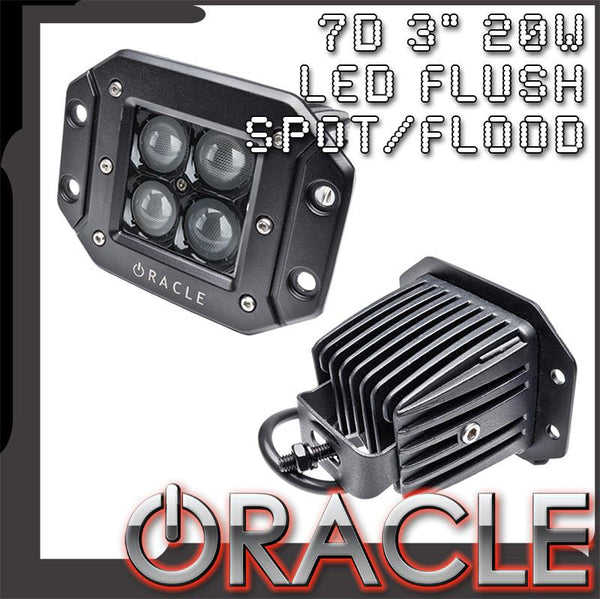 "ORACLE Black Series - 7D 3"" 20W Flush LED Square Spot/Flood Light"