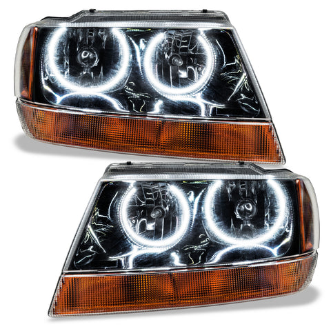 1999-2004 Jeep Grand Cherokee Pre-Assembled Headlights-Black