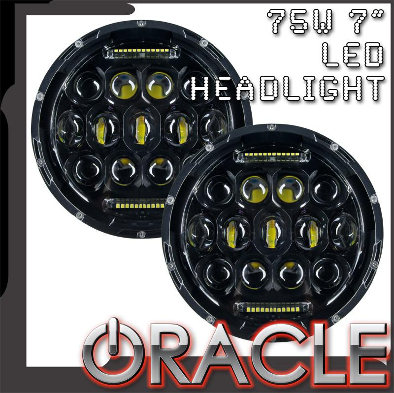 Led Replacement Headlight Bulbs >> Oracle Off Road 75w 7 Cree Led Replacement Headlights Pair