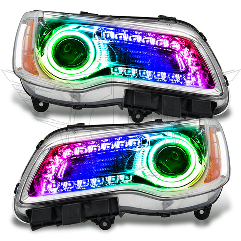 2011-2014 Chrysler 300C NON HID Pre-Assembled Headlights - Chrome Housing - ColorSHIFT DRL