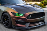 2015-2017 Ford Mustang Pre-Assembled Headlights -Dynamic ColorSHIFT RGB+A -Black Edition