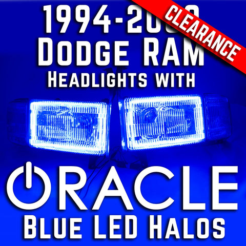 1994-2002 Dodge RAM 1500 Headlights - ORACLE Blue LED SMD Halo Kit Pre-Installed