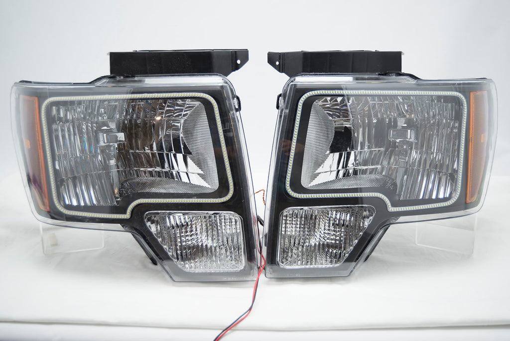 2014 F150 Headlights >> 2009 2014 Ford F 150 Headlights With Oracle White Led Smd Halo Kit