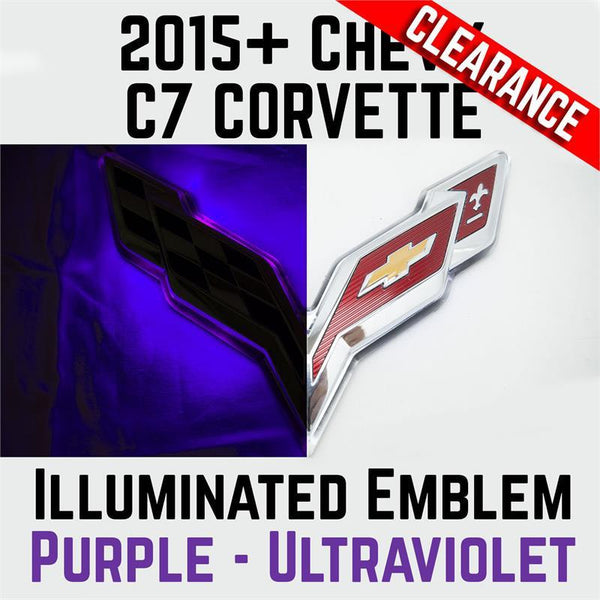 2015-2017 Chevy Corvette C7 Rear Illuminated Flags Emblem - Purple U/V