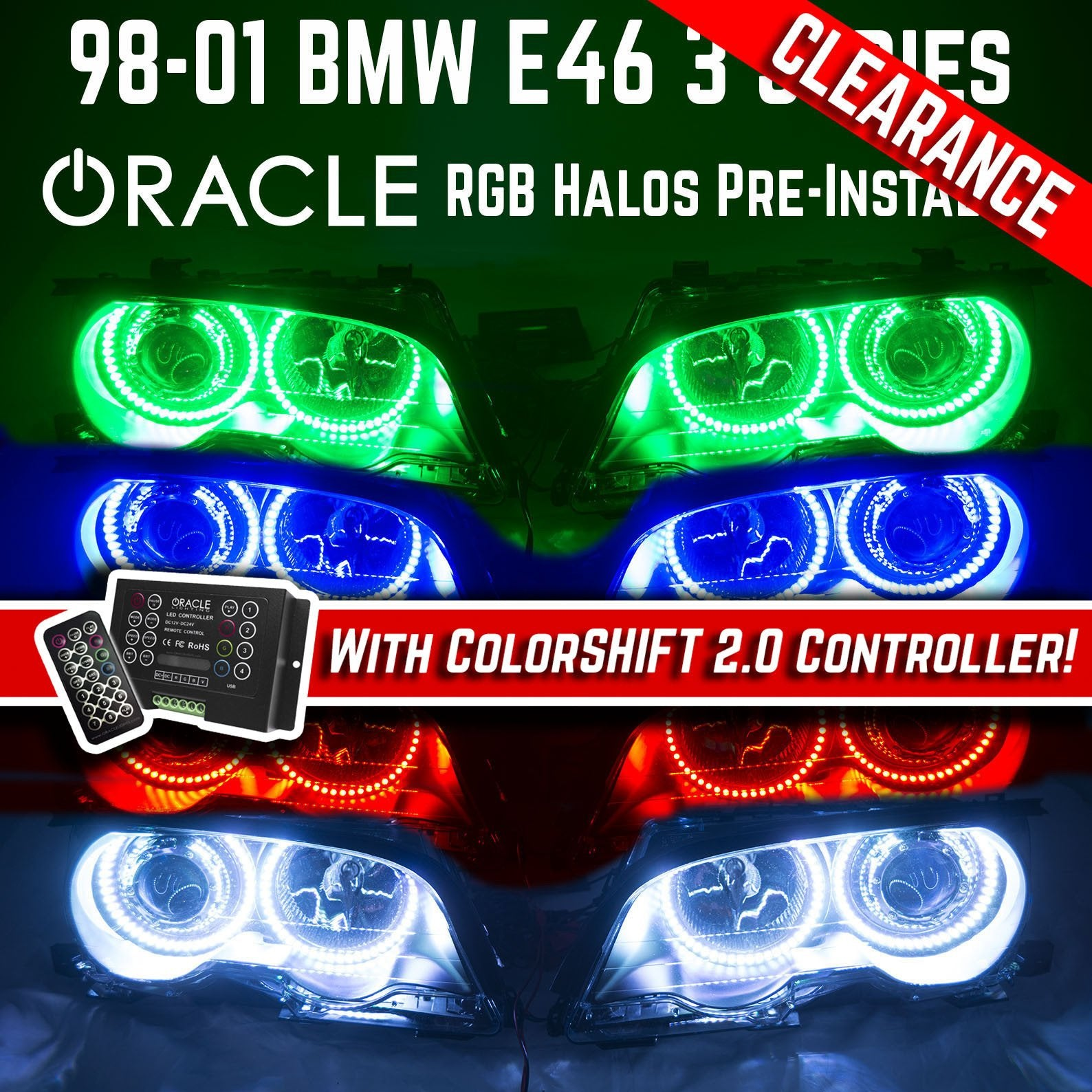 LED Headlight Halo Ring RGB Multi-Color WIFI Kit for CHEVY Monte Carlo 00-05