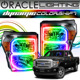 2011-2016 Ford F-250/F-350 Super Duty ORACLE Dynamic ColorSHIFT Headlight Halo Kit (Square Ring Design)