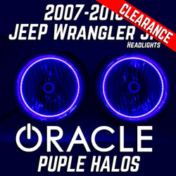 2007-16 Jeep Wrangler JK Headlights - ORACLE Purple/UV SMD Halos Pre-Installed