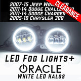 Jeep Wrangler Dodge Mopar LED Hi-Power Fog Lights + ORACLE White LED Halos