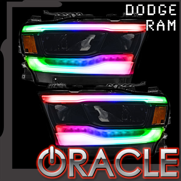 2019-2021 Ram 1500 ORACLE RGB+W Headlight DRL Upgrade Kit - Reflector LED Headlights