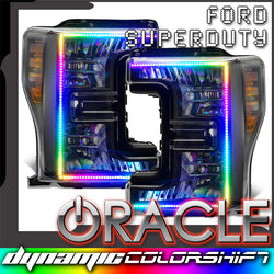 2017-2019 Ford F-250/F-350 Super Duty ORACLE Dynamic ColorSHIFT Pre-Assembled Headlights - Black Edition