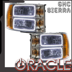 2007-2013 GMC Sierra Pre-Assembled Headlights - Square Ring Design