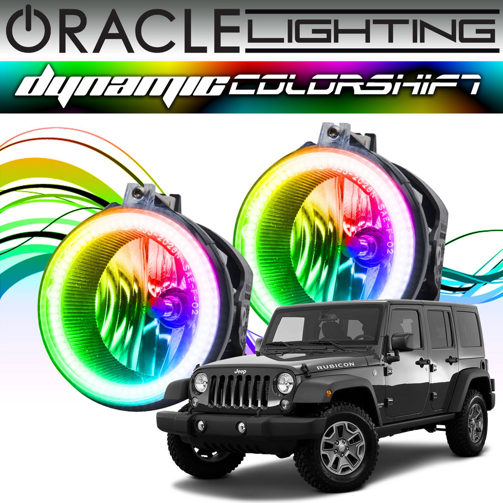 Jeep Wrangler Fog Lights >> 2007 2017 Jeep Wrangler Oracle Dynamic Colorshift Fog Light Halo Kit