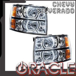 2007-2013 Chevy Silverado Pre-Assembled Headlights-Chrome-Square Style