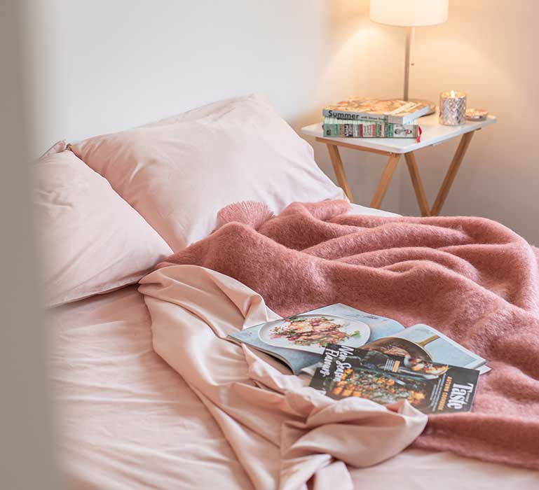 Salmon Pink Lyocell Cotton Sheets, Hero Shot, Great Sleep