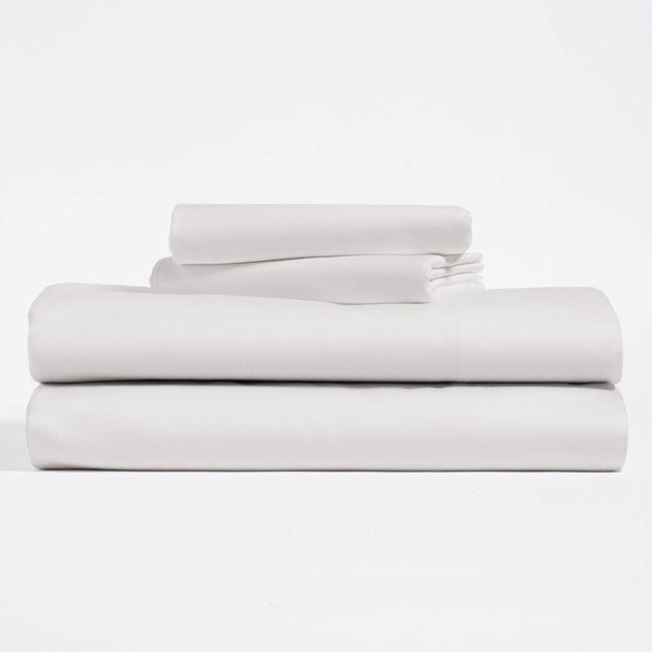Silver, Lyocell Cotton sheet set, including flat sheet, fitted sheet, and two pillow cases.