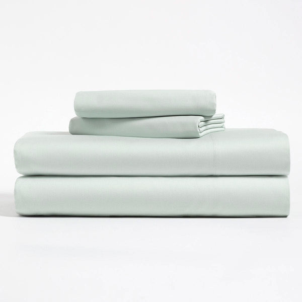 Mint green, Lyocell Cotton sheet set, including flat sheet, fitted sheet, and two pillow cases.