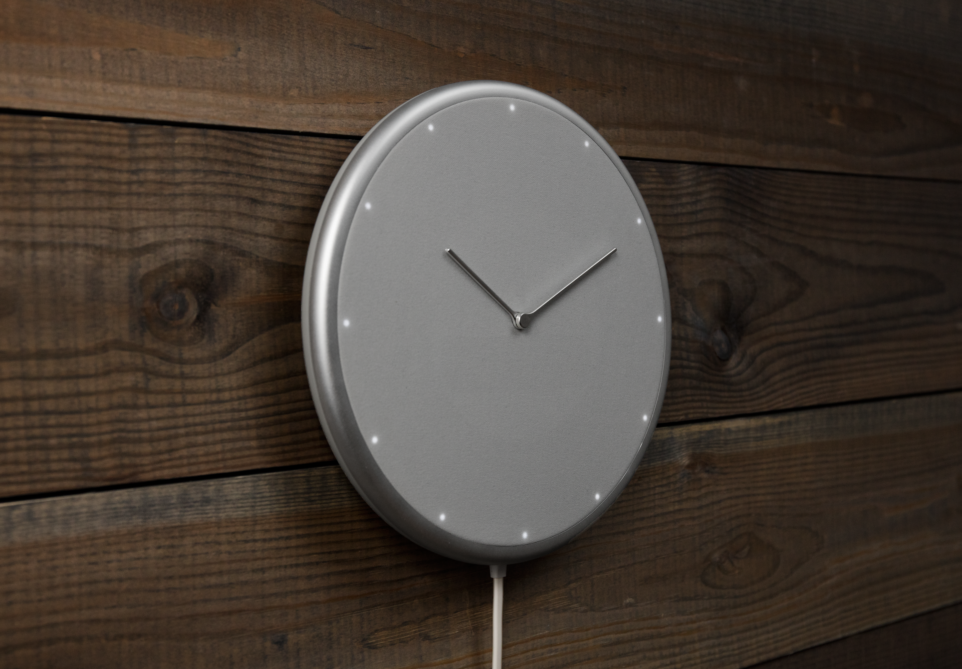 Glance clock Silver Side Wall Wood