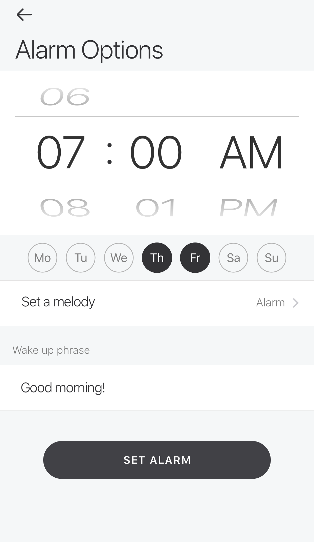 Glance App - Alarm Clock - Set alarm