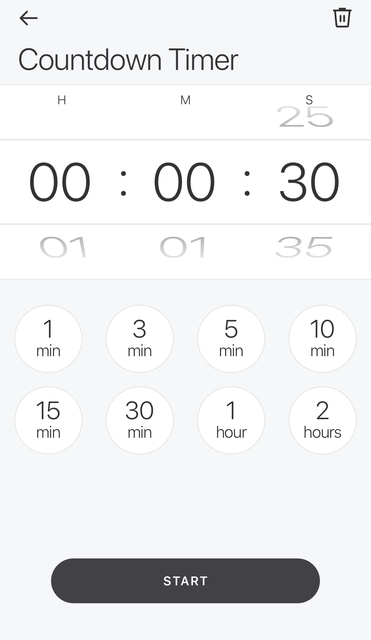 Glance App - Countdown Timer - Set time