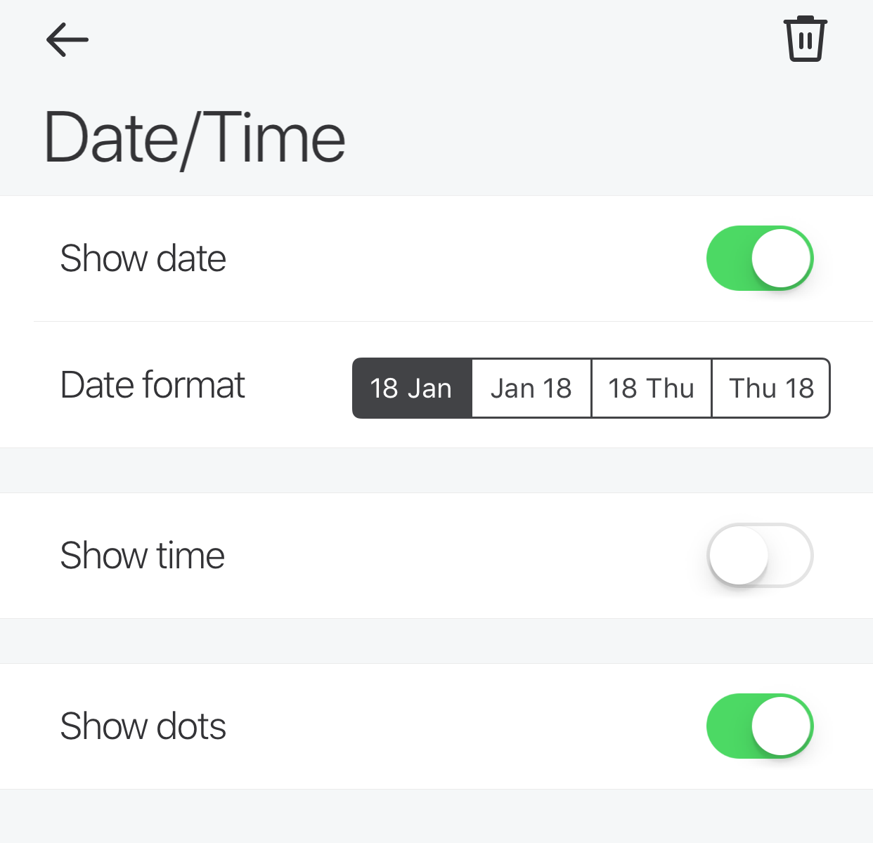 Glance App - Date and Time - Date enabled