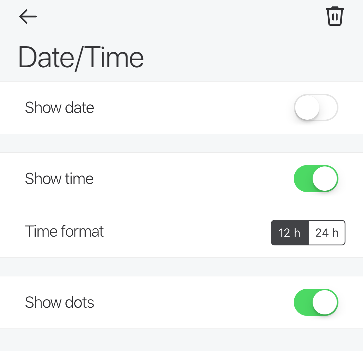 Glance App - Date and Time - Time enabled