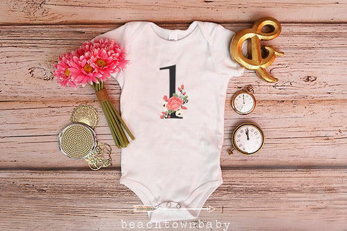 1 Floral First Birthday Bodysuit