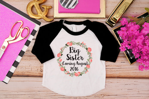 Big Sister Wreath Shirt with Date