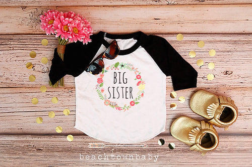 Big Sister Flower Wreath Shirt