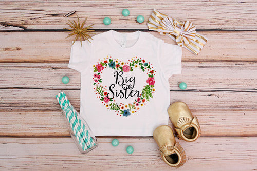 Big Sister Floral Heart Shirt