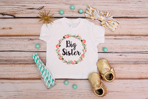 Big Sister Floral Wreath Shirt