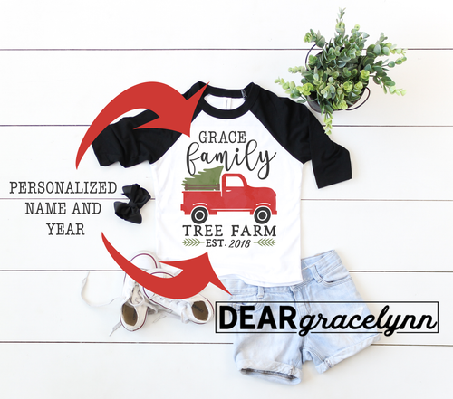 Personalized Tree Farm Christmas Baseball Tee