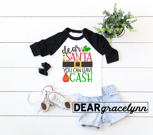 Santa Leave Cash Christmas Baseball Tee