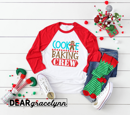 Cookie Baking Crew Christmas Baseball Tee