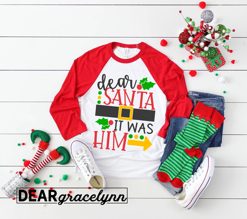 Dear Santa It Was Him Christmas Baseball Tee