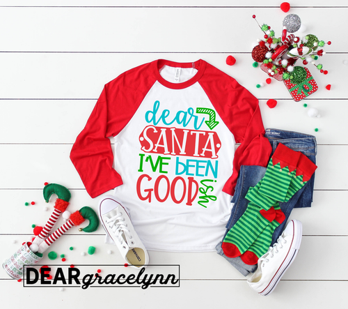 Dear Santa I've Been Goodish Christmas Baseball Tee