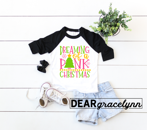 Dreaming of a Pink Christmas Baseball Tee