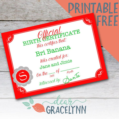 Elf on The Shelf Birth Certificate Printable