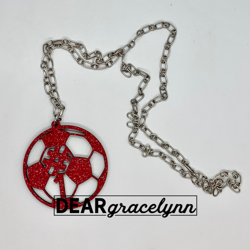 Soccer Mom Glitter Necklace with Custom Number