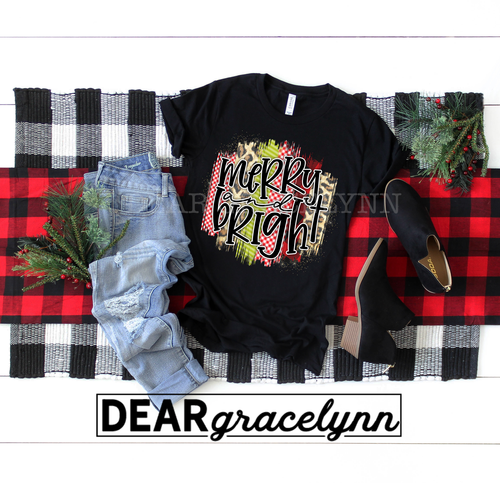 Merry & Bright Christmas Brush Stroke Tee