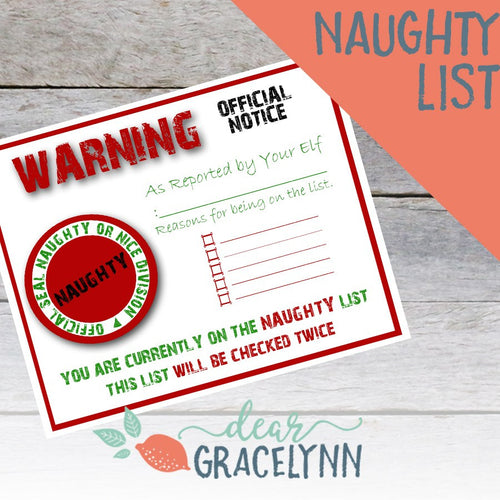 Elf on The Shelf Naughty List Printable