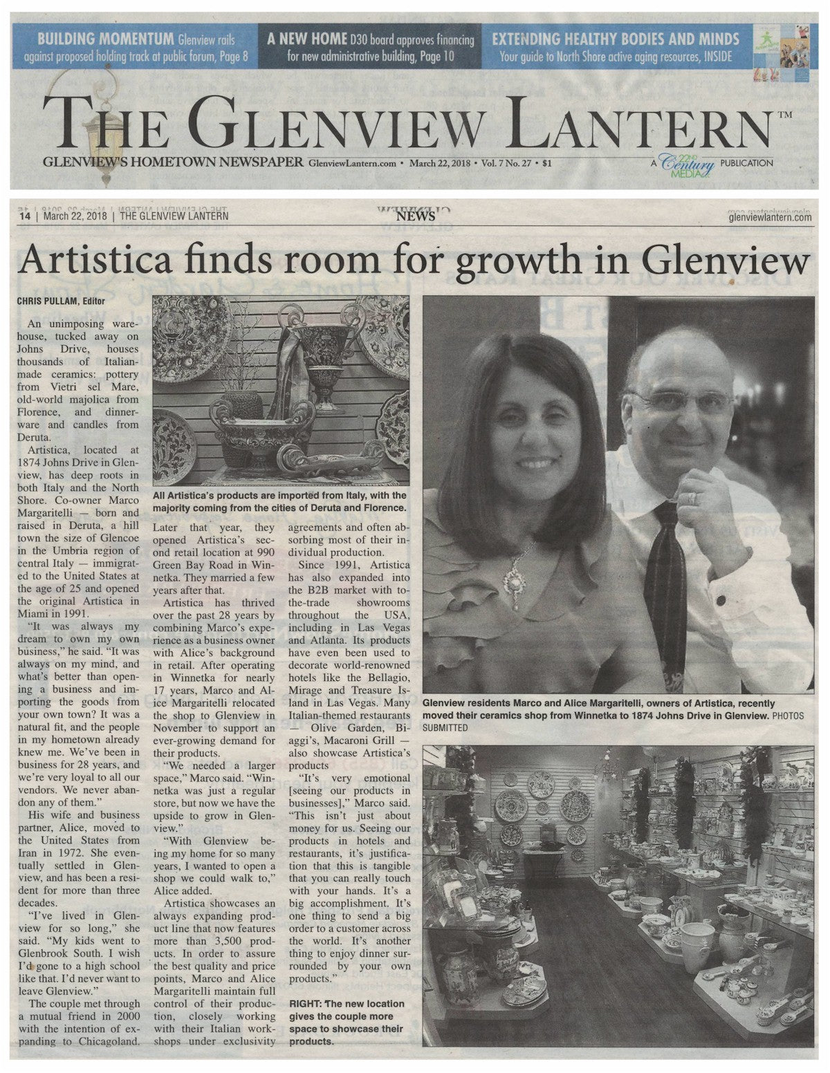 Artistica The Glenview Lantern article March 2018